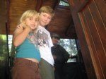 Picture Title - Charlies and Ally in the cab of a narrow gauge shay at the big trees railroad.