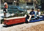 Picture Title - Chad and Charlie ride the red car up to the station