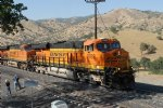 Picture Title - Jim and Phil at the loop as a BNSF train passes by